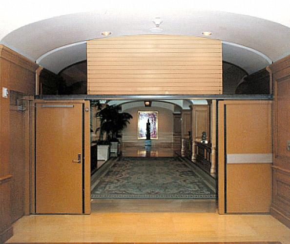 Vertical Coiling Fire Door With Egress Interior Tech Seattle