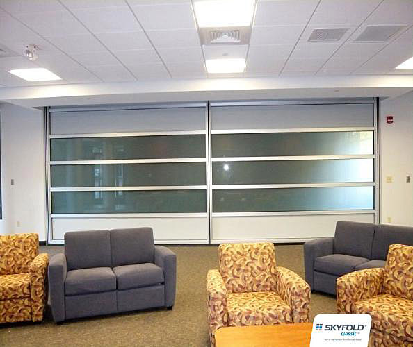 Folding Glass Walls : Skyfold vertical folding glass walls interior tech