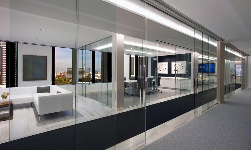 Operable glass partitions klein interior tech Interior glass partition systems