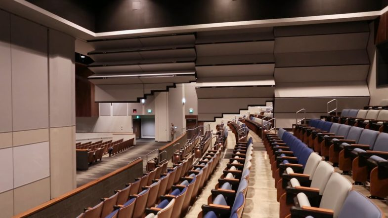 New Tahoma High School- Skyfold Step Partition, installed by Interior Tech