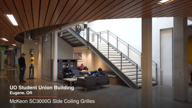 McKeon SC3000G Side Coiling Grilles at UO Student Union Building, installed by Interior Tech