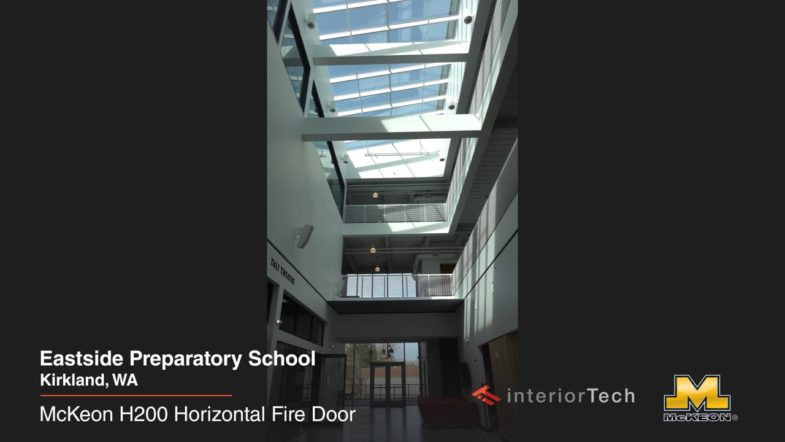 McKeon Horizontal H200 fire/safey partition at Eastside Preparatory School, installed by Interior Tech