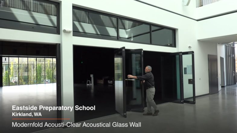 ModernFold Acousti Clear Acoustic Glass Wall at Eastiside Preparatory School, installed by Interior Tech